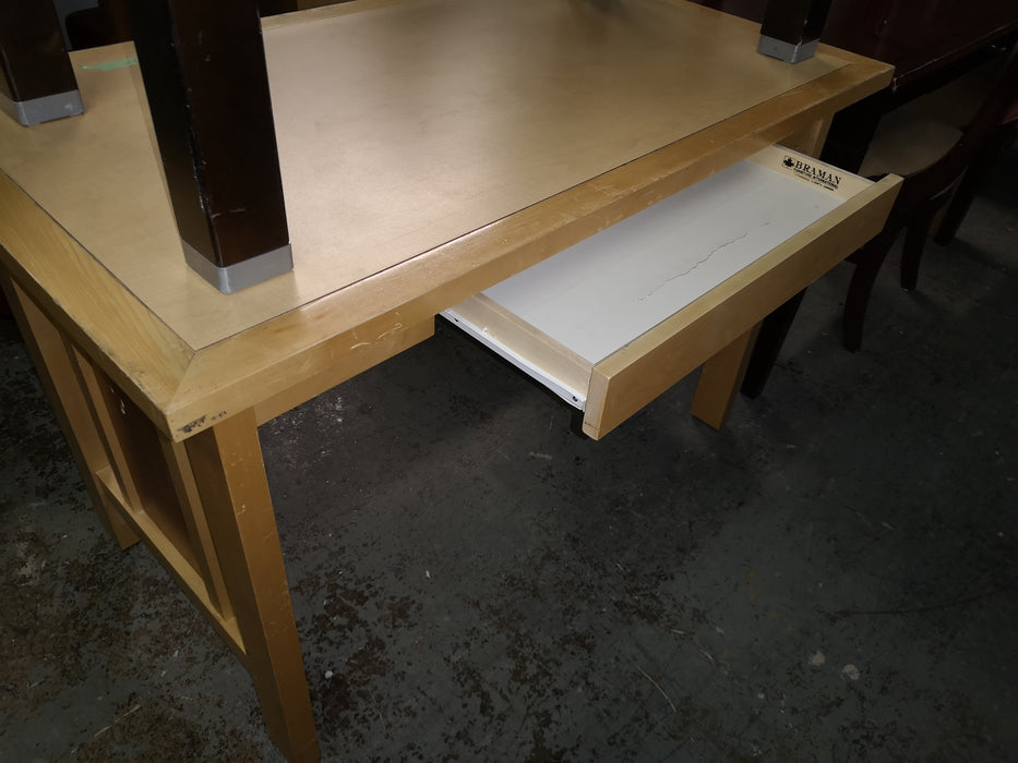 Light Wood Desk with Two Tone Solid Sides HW