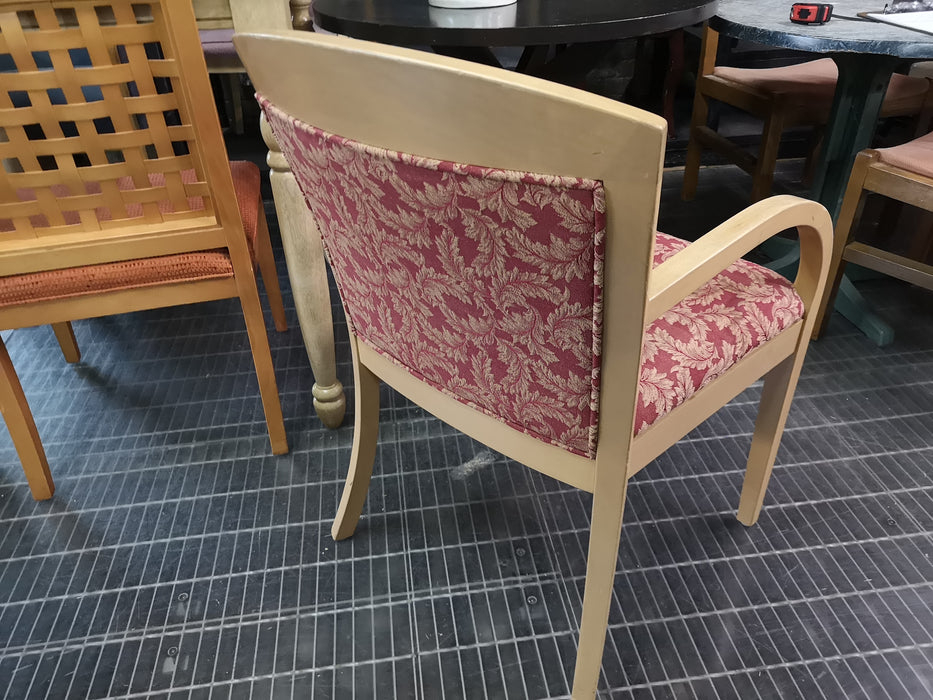 Light Wood Dining Chair with Red Print Upholstery With Arms