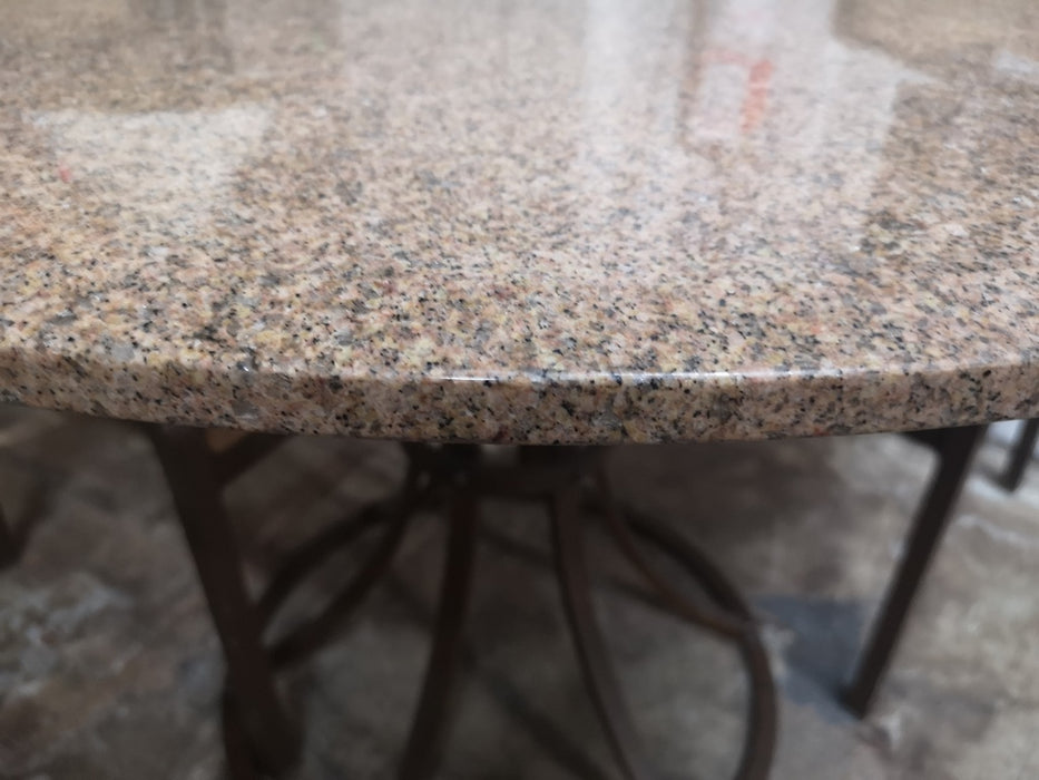 Round Granite Dining Table with Iron Base