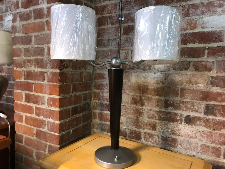 Double Bulb Dark Wood Cone Table Lamp