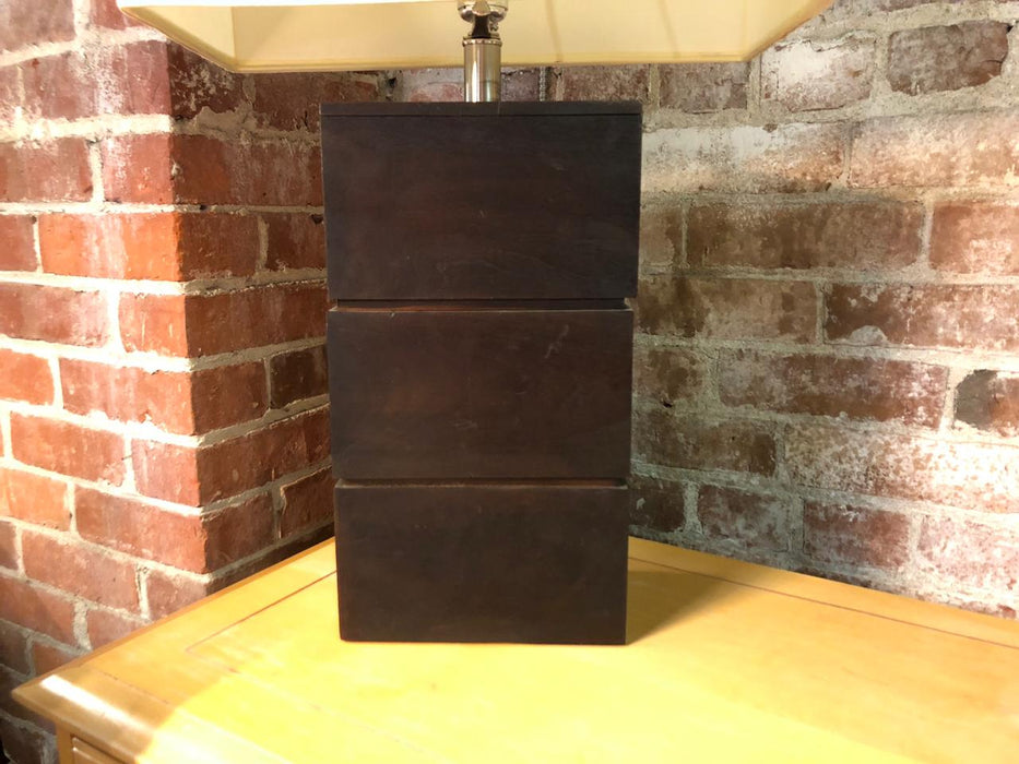 Dark Wood Block Table Lamp