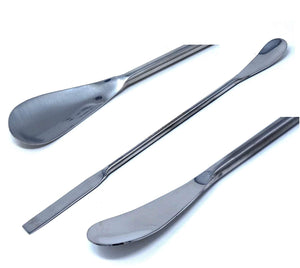 "Stainless Steel Double Ended Micro Lab Spatula Sampler, Square & Flat Spoon End, 7"" Length, 4/Pack"