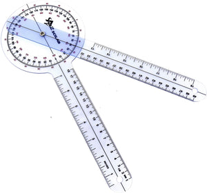 "Plastic 12"" Goniometer 360 Degree Physical Therapy Angle Protractor"