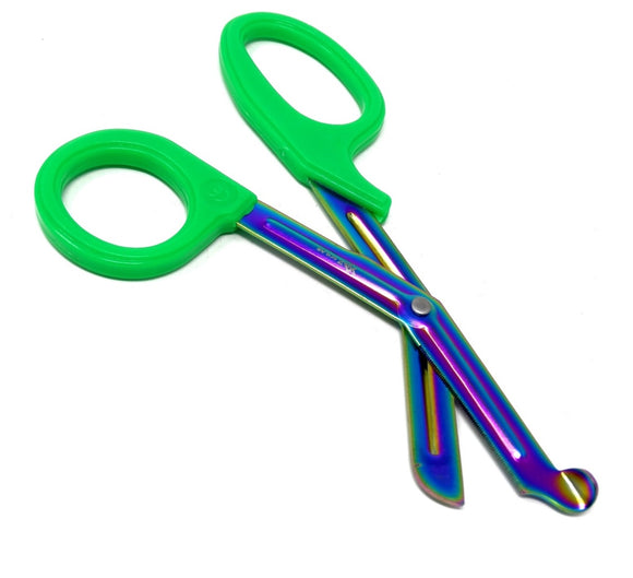 Green Handle with Fluoride Multi Color Blades Trauma Shears 7.25