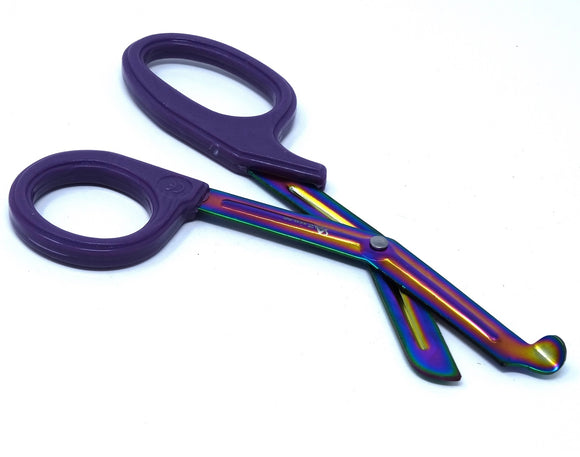 Purple Handle with Fluoride Multi Color Blades Trauma Shears 7.25