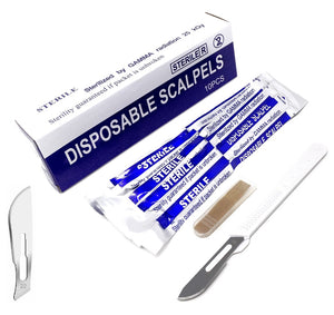 Disposable Scalpels #22, 10/bx Carbon Steel Blades, Plastic Handle