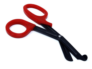 Red Handle with Fluoride Coated Black Blades Trauma Shears 7.25""