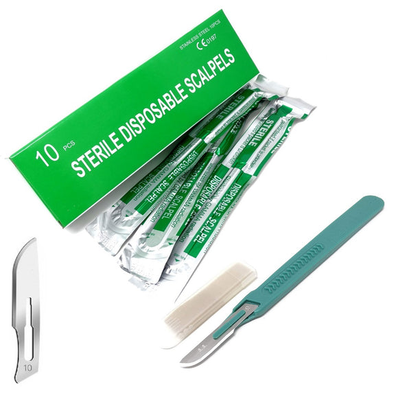 Disposable Scalpels #10, 10/bx Stainless Steel Blades, Plastic Handle