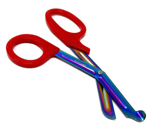 Red Handle with Fluoride Multi Color Blades Trauma Shears 7.25""