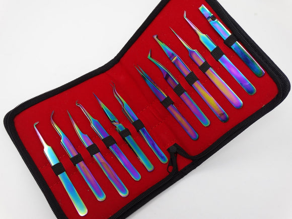 Set of 12 pcs Multi Color Jeweler Style Fine Point Micro Tweezers