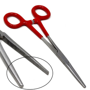 Red PVC Vinyl Grip Handle Hemostat Forceps Straight Serrated 6""