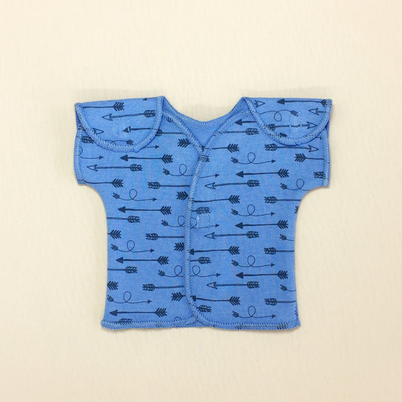 Blue NICU Baby Tee With Arrow Print And Velcro Shoulder Openings