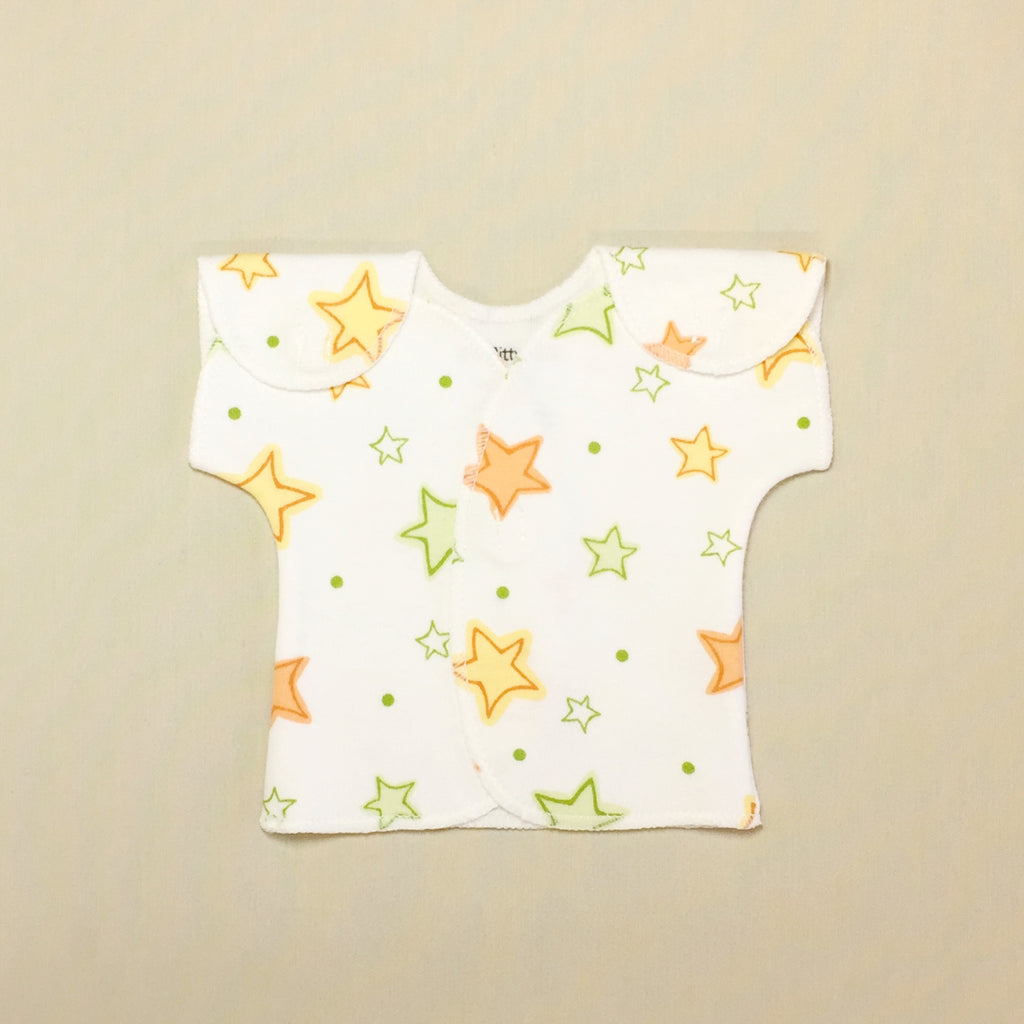 White NICU Baby Tee With Orange And Green Stars And Velcro Shoulder Openings