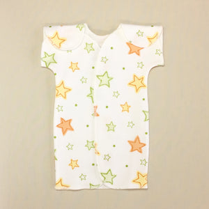 White NICU Baby Gown With Stars And Velcro Shoulder Openings