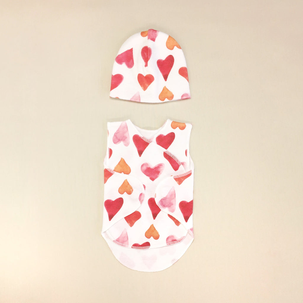 NICU Baby Wrap Set Water Colour Hearts With Matching Hat, Velcro Opening