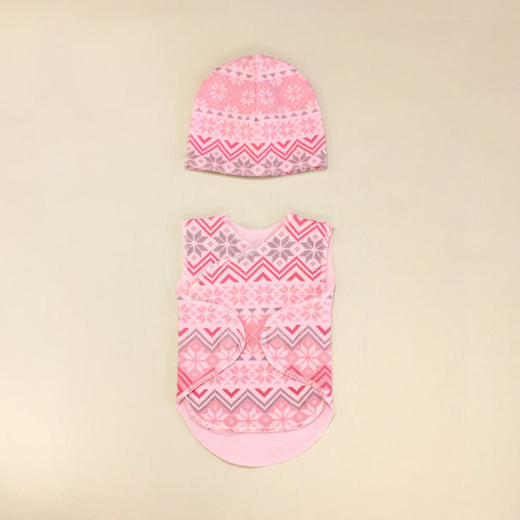 Baby Wrap Set With Zig Zag Pattern And Hat, Velcro Openings