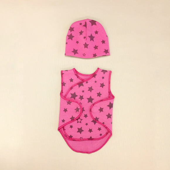 Pink Baby Wrap Set With Stars Print And Matching Hat, Velcro Openings