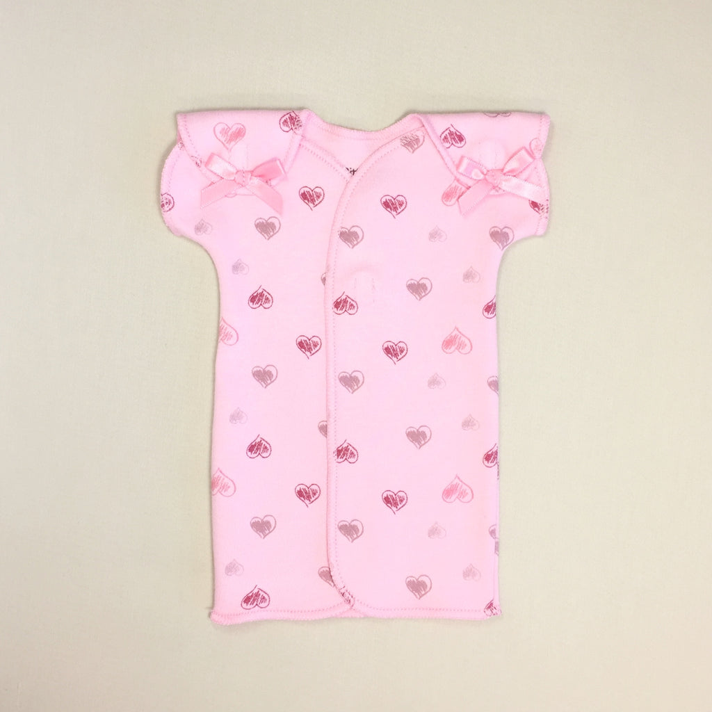 Pink NICU Baby Gown With Heart Print And Velcro Shoulder Openings