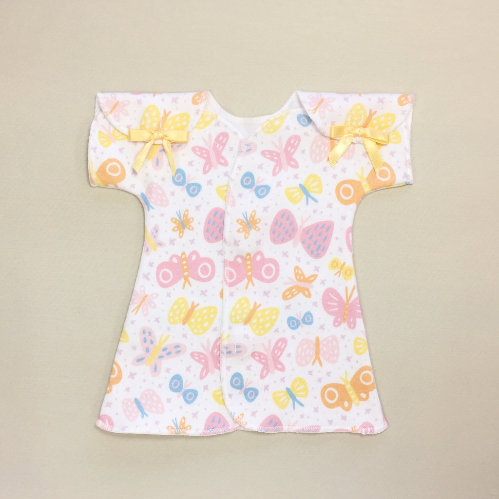 Butterfly premature baby dress with shoulder opening