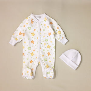 White Babygrow Set With Orange And Green Stars And Matching White Hat