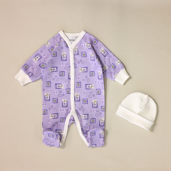 Mauve BabyGrow Set with Leaf Pattern, White Stripe And Matching White Hat