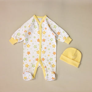 White Babygrow With Orange And Green Stars, Yellow stripe And Matching Hat