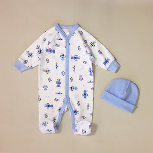 White Babygrow Set With Robot Print, Blue Stripe And Matching Blue Hat