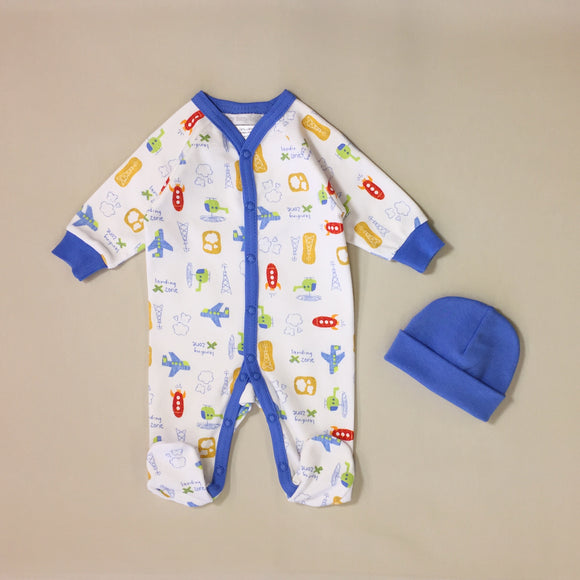 White Babygrow Set With Airplane Pattern And Blue Stripe And Blue Hat