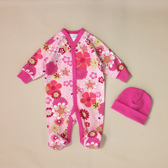 Pink Babygrow With Retro Flower Print And Matching Pink Hat