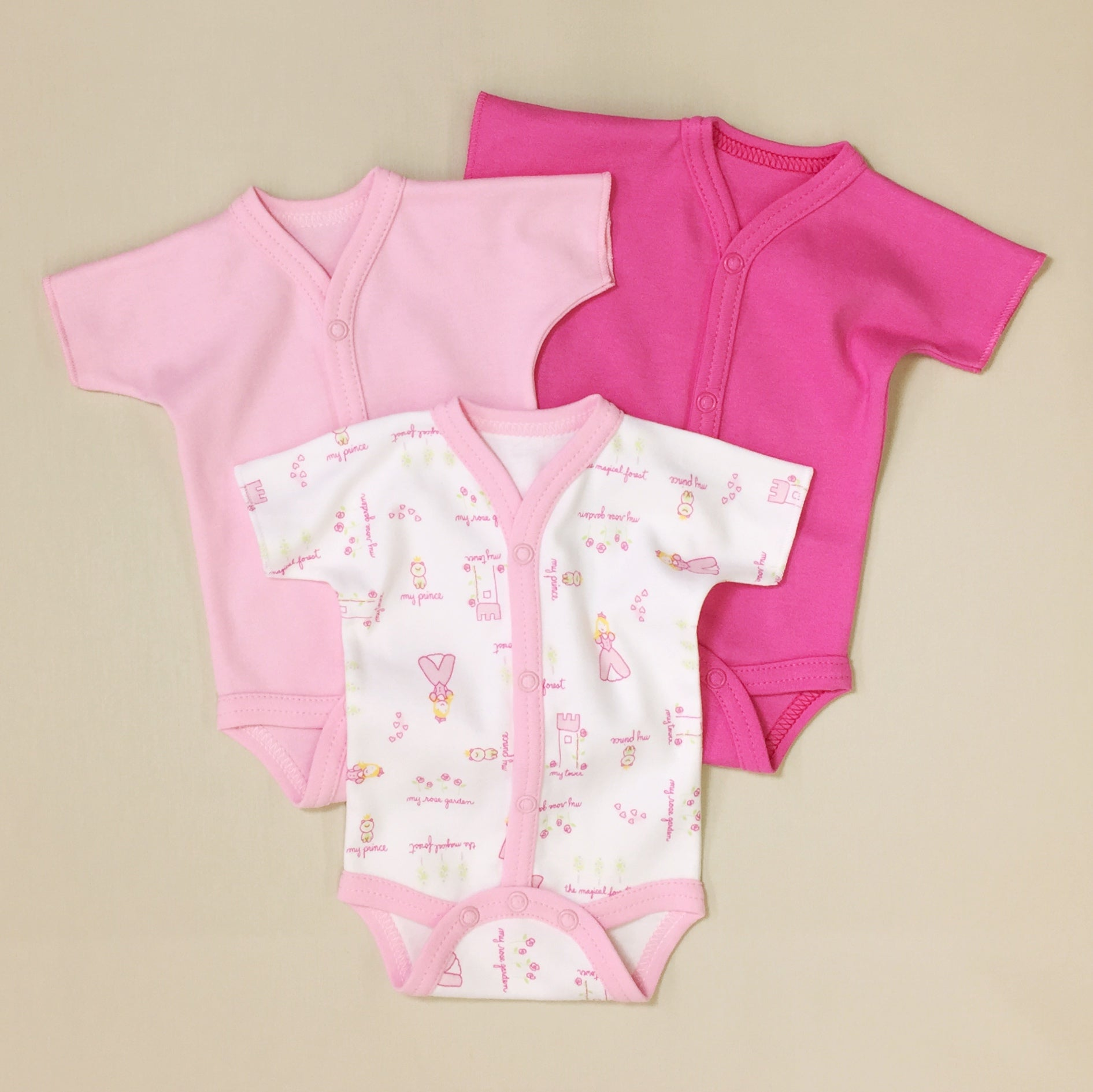 3 Pack Baby Bodysuit, One Light Pink, One Dark Pink And One White With Princess Print