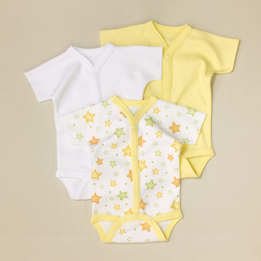 3 Pack Baby Bodysuit, One White, One Yellow, One White With Yellow Stripe With Orange And Lime stars