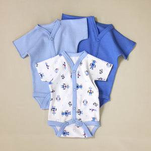 3 Pack Baby Bodysuit, One Light Blue, One Dark Blue, One white with blue stripe and robot print