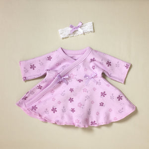 Ruffled NICU Dress & Headband - Lilac Daisy