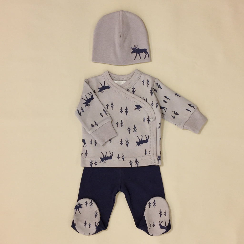 Grey And Navy Moose Print Tee And Pants Set With Matching Hat