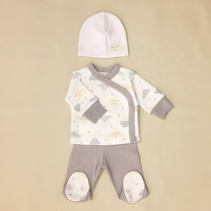 Grey And White With Cloud Print Tee And Pants set With Matching Hat