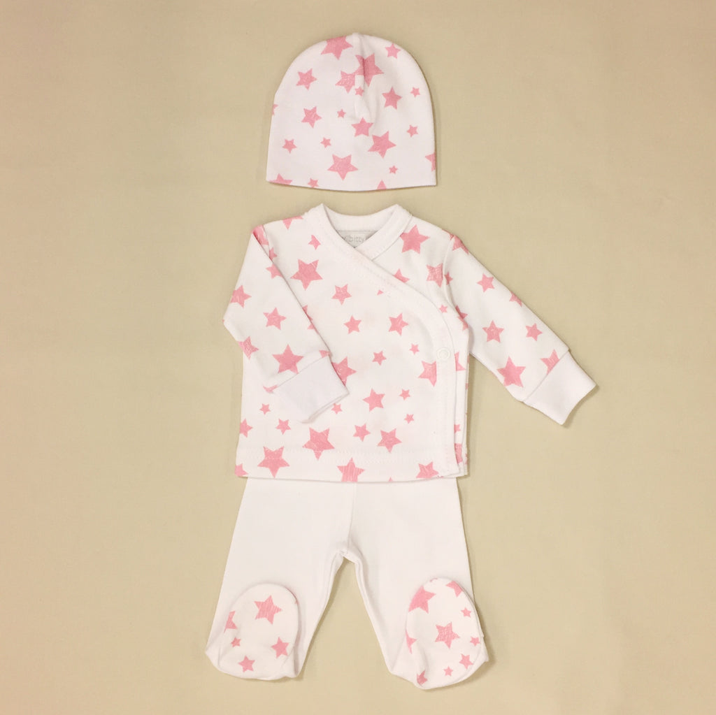 White With Pink Star Tee And Pants Set With Matching Hat