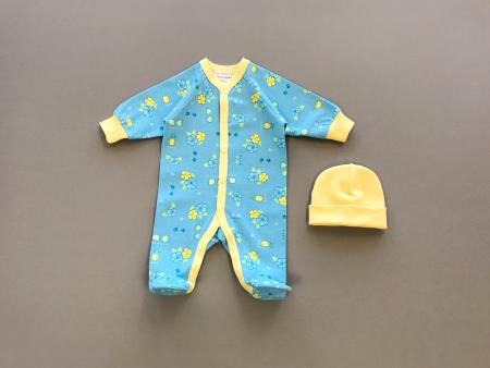 Blue And Yellow Premature Babygrow With Matching Yellow Hat