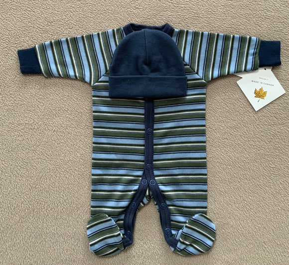 Navy Stripe Babygrow Set With Matching Navy Hat