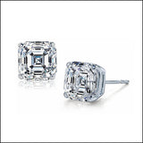 Asscher Cut Diamond Stud Earrings
