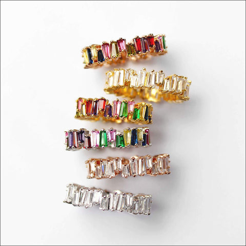 Angelina Hart Stackable Baguette Rings Stacked