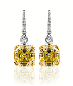 Angelina Hart Canary Asscher Diamond Earrings