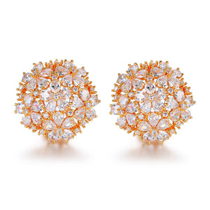 Angelina Hart Floral Bouquet Stud Earrings Yellow Gold