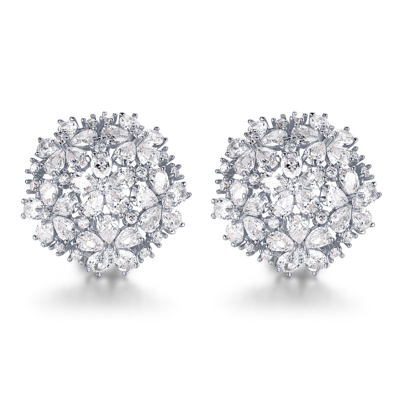 Angelina Hart Floral Bouquet Stud Earrings White Gold