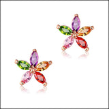 Color Floral Stud Earrings by Angelina Hart