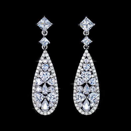 Radiant Drop Cluster Earrings by Angelina Hart Toujours fashion jewelry collection