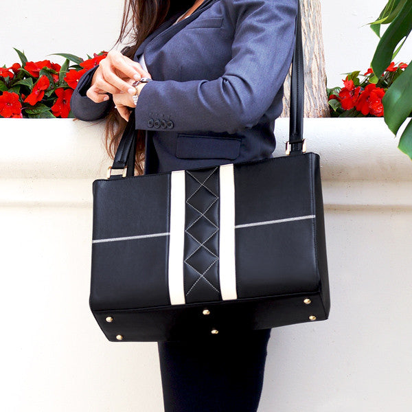 Elegant Grand Career Tote Professional Women's Handbag Action