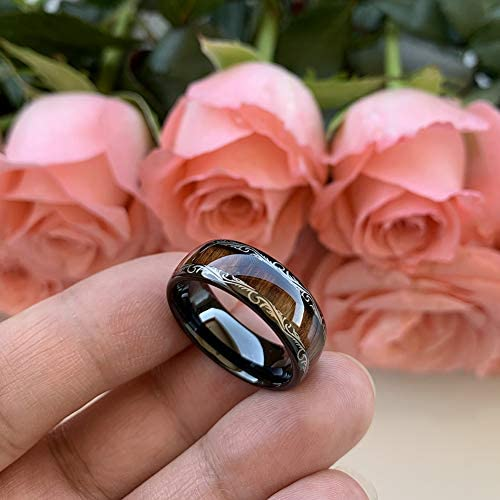 AMANOILE 8mm Silver/Black/Rose Gold Tungsten Carbide Rings for Men Women Wedding Bands Koa Wood Inlay Domed Polished Comfort Fit