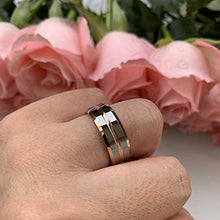 Load image into Gallery viewer, AMANOILE 6mm 8mm 18K Gold/Rose Gold Tungsten Carbide Rings for Men Women Wedding Bands Two Tones Beveled Edges Polished Shiny Comfort Fit
