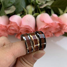 Load image into Gallery viewer, ASILLIA 8mm Silver/Black/Rose Gold Tungsten Rings for Men Women Wedding Bands Natural Koa Wood Inlay Polished Shiny Comfort Fit