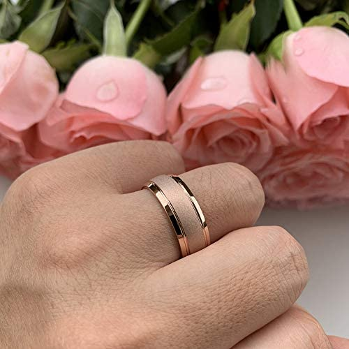 AMANOILE 6mm 8mm 18K Gold/Rose Gold Tungsten Carbide Rings for Men Women Wedding Bands Classic Domed Sandblasted Finish Comfort Fit